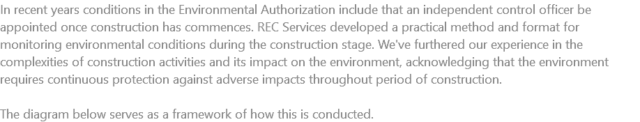 In recent years conditions in the Environmental Authorization include that an independent control officer be appointed once construction has commences. REC Services developed a practical method and format for monitoring environmental conditions during the construction stage. We've furthered our experience in the complexities of construction activities and its impact on the environment, acknowledging that the environment requires continuous protection against adverse impacts throughout period of construction. The diagram below serves as a framework of how this is conducted.